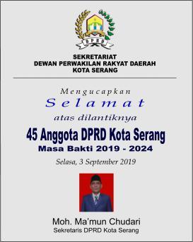 UCAPAN PELANTIKAN - DPRD Kota Serang 2019-2024